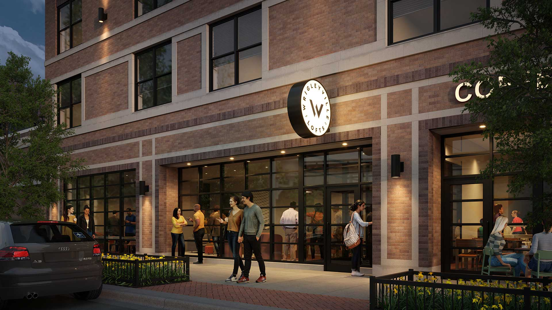 A rendering looking at the future entryway to Wrigleyville Lofts. It is early evening and people are coming in and out of the building.